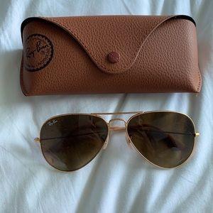 Ray-Ban Gold aviator gradient Sunglasses
